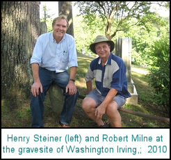 Henry Steiner (left) and Robert Milne at the old gravesite of Washington Irving,; 2010
